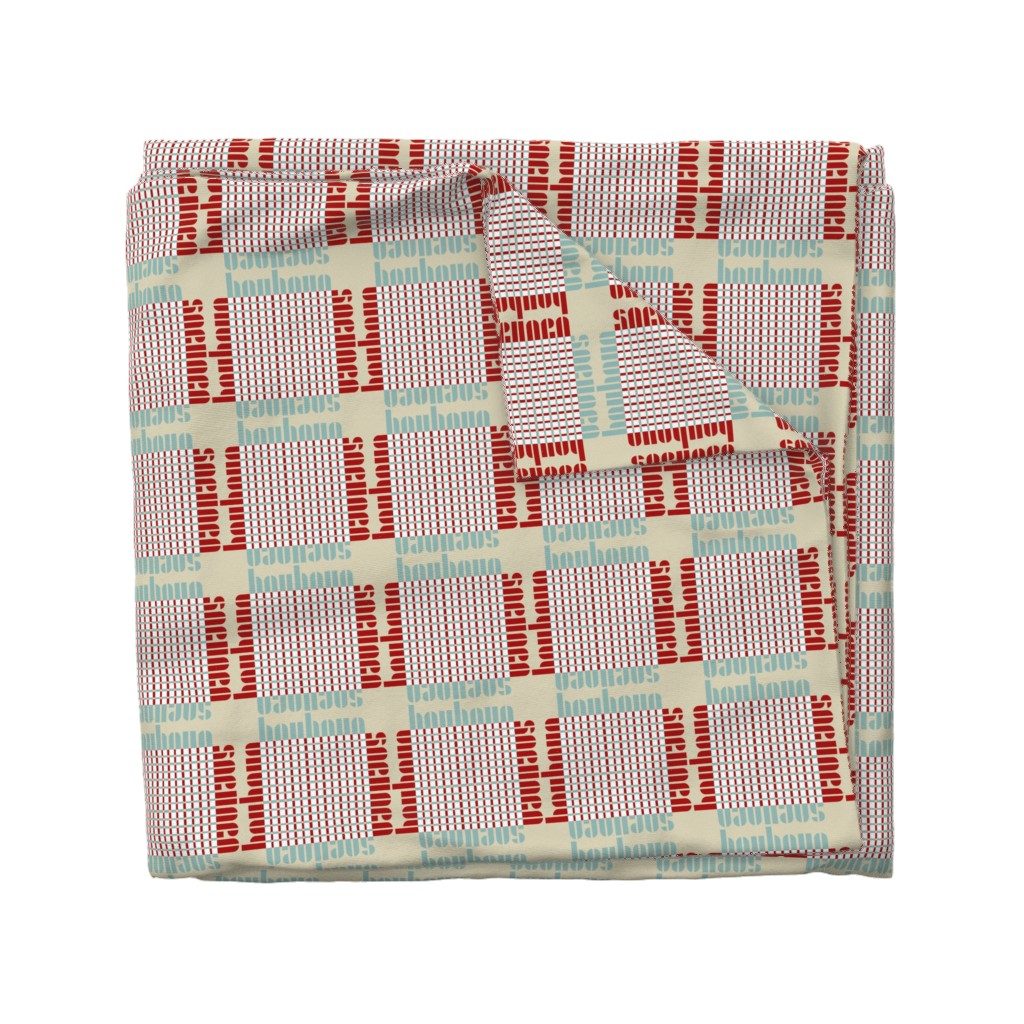 Wyandotte Duvet Cover featuring bauhaus plaid - tan/mint/red by cinneworthington