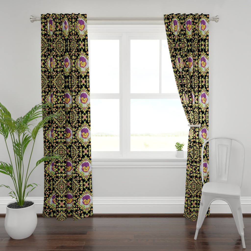 Plymouth Curtain Panel featuring Purple Pansy Portrait by patriciasheadesigns