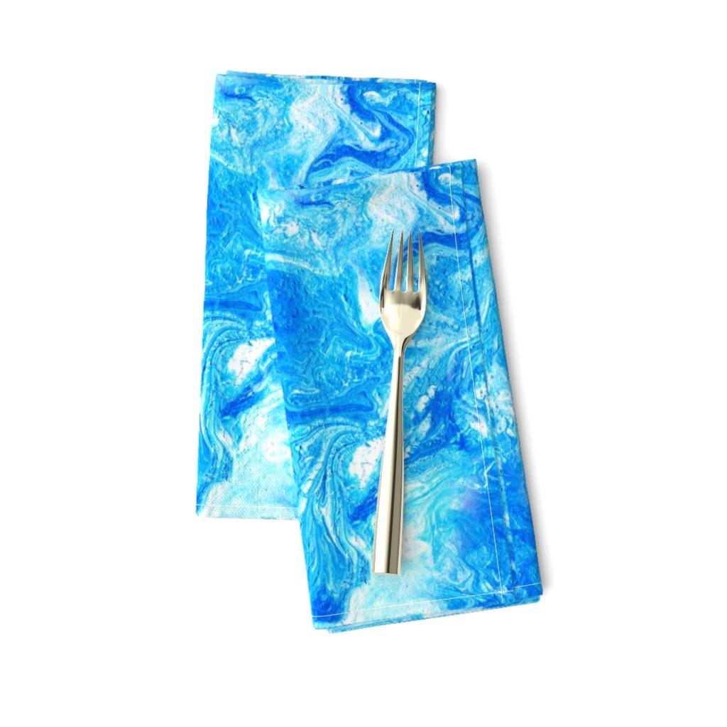 Amarela Dinner Napkins featuring Blue wave marbling texture by tashakon