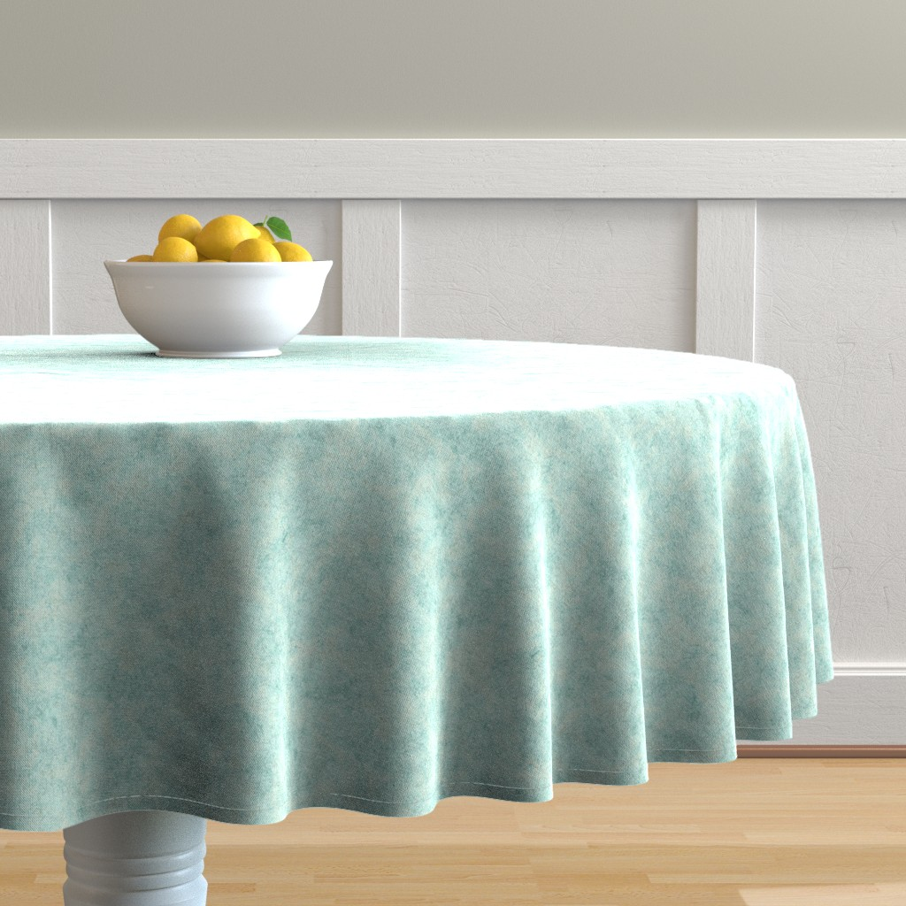 Malay Round Tablecloth featuring watercolor-marble-mint by wren_leyland