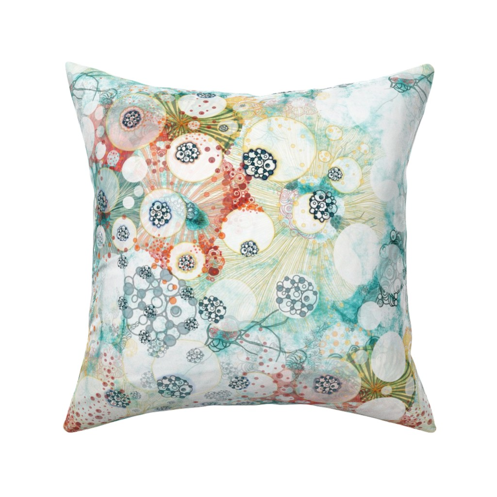 Catalan Throw Pillow featuring whimsical circles of light in watercolor and ink whimsical pattern Nucleus by mimipinto