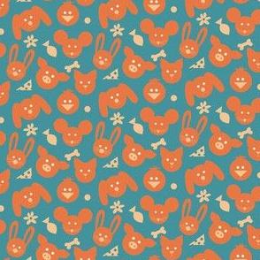 Ditsy Animals - Orange