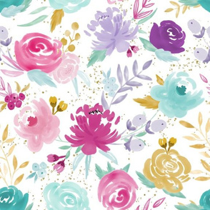 Grace Watercolor Floral with Gold Speckles