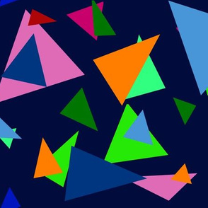 colorful triangles on dark blue