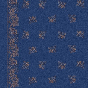 Small Embroidered Flower Border fabric - small 27 inches-wide - CROP-2016-6jun6-NEW-COPPER-SPRIGS-80perc-dkbluestencilpattern-rotated