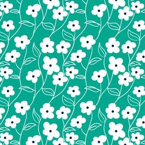 Wallflower Climbing Floral pattern // Modern floral repeating pattern // 60s mod daisy style by Zoe Charlotte