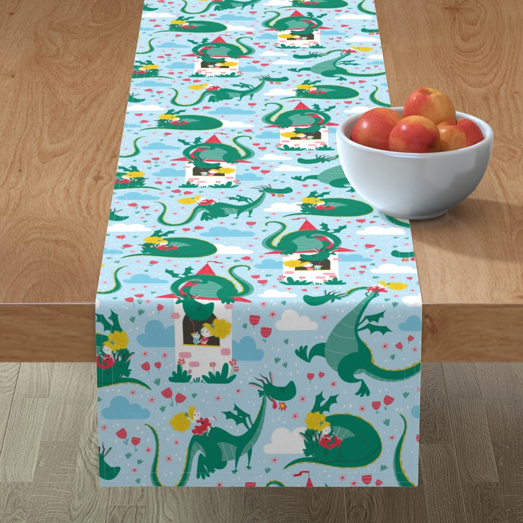 Minorca Table Runner featuring princess dragon pattern by gnoppoletta