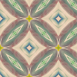 Muted Boho Diamond Ikat Mandala