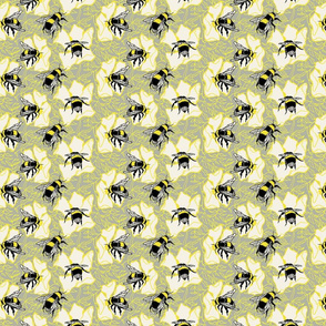 Bumble Bees with yellow details on grey