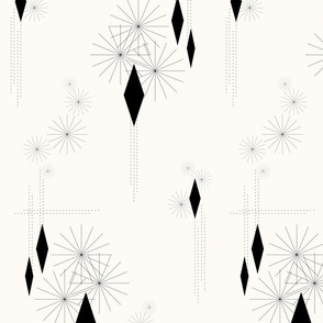 Nineteen Sixty Revisited: Black and Cream Geometric, MCM Black Geometric Design