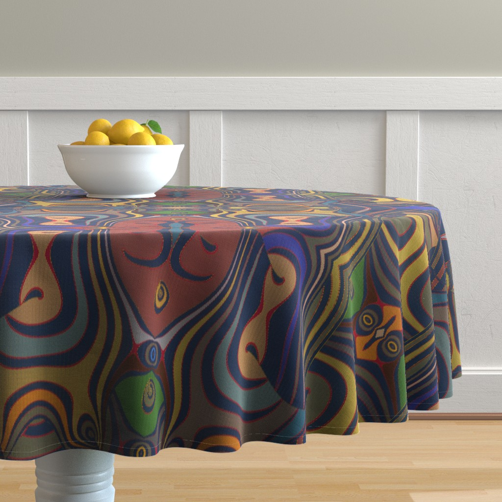 Malay Round Tablecloth featuring Goyagan by david_kent_collections