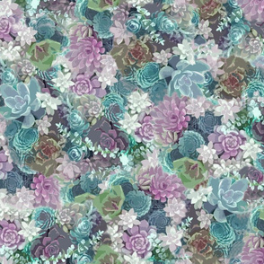 succulents fabric lilac