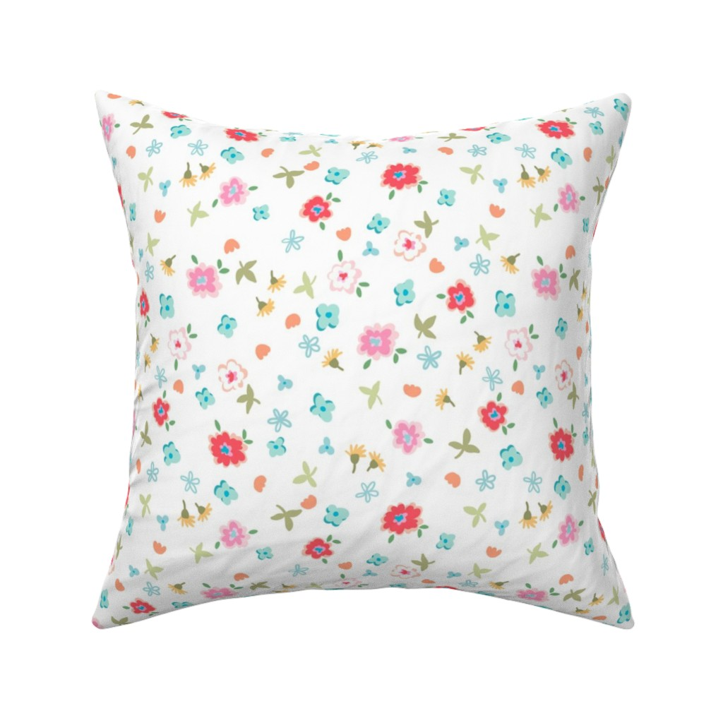 Catalan Throw Pillow featuring fresh picked flowers - white by designed_by_debby