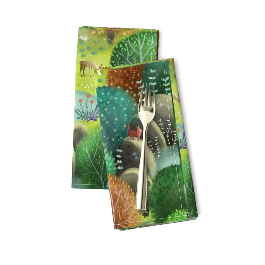 Amarela Dinner Napkins featuring emeraldforest by gaiamarfurt