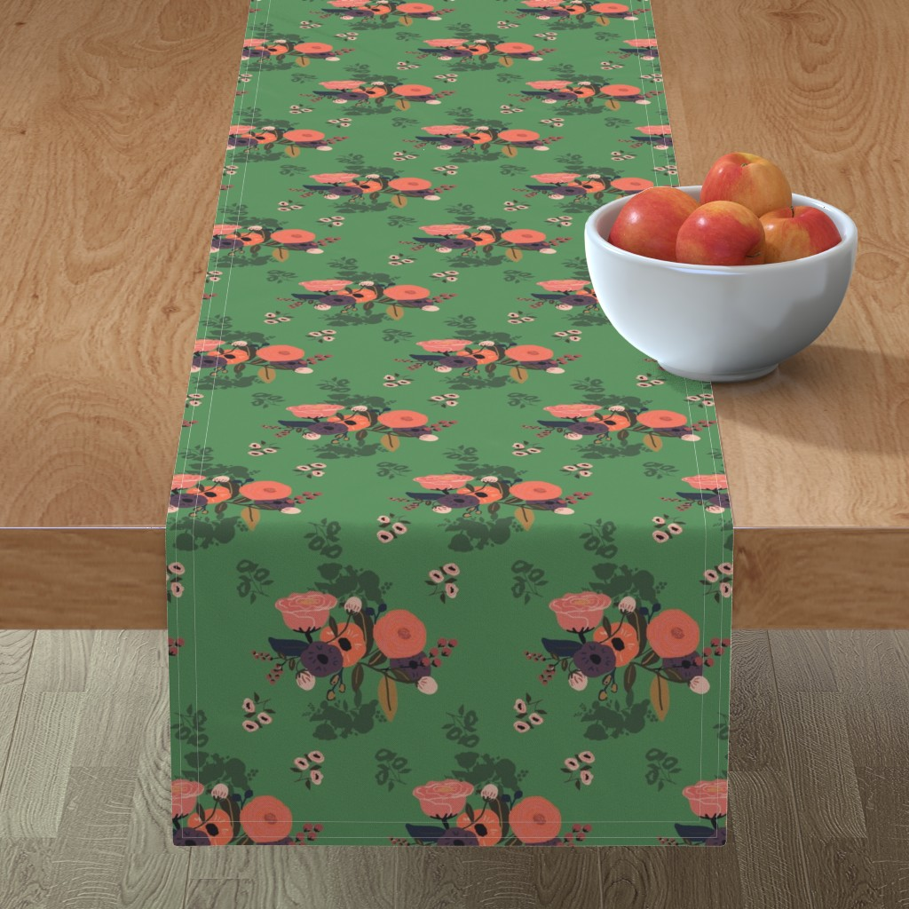 Minorca Table Runner featuring emerald forest by adelaidebtq