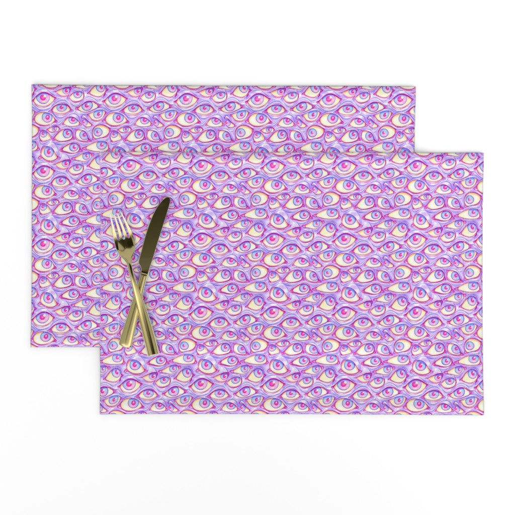 Lamona Cloth Placemats featuring Wall of Eyes in Purple by spookishdelight