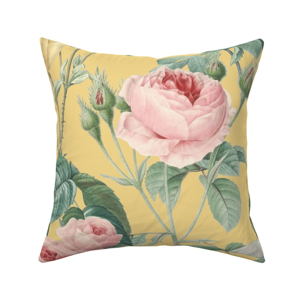Catalan Throw Pillow featuring Belles Fleurs ~ Jolie Rayure ~  Adalphus  by peacoquettedesigns