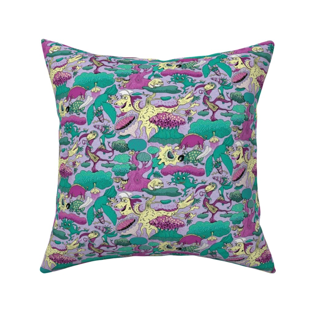 Catalan Throw Pillow featuring quirky emerald forest, large scale, lavender fuchsia green yellow purple by amy_g