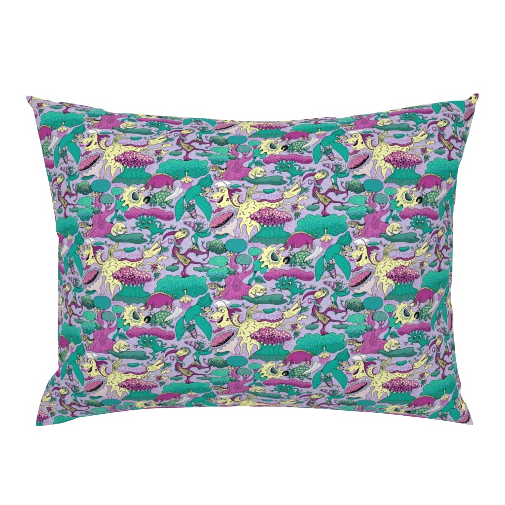 Campine Pillow Sham featuring quirky emerald forest, large scale, lavender fuchsia green yellow purple by amy_g