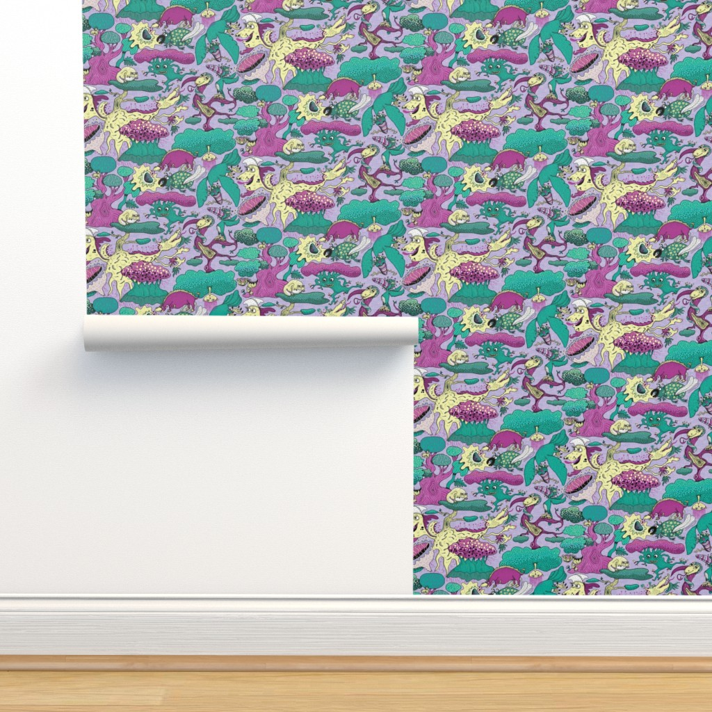 Isobar Durable Wallpaper featuring quirky emerald forest, large scale, lavender fuchsia green yellow purple by amy_g
