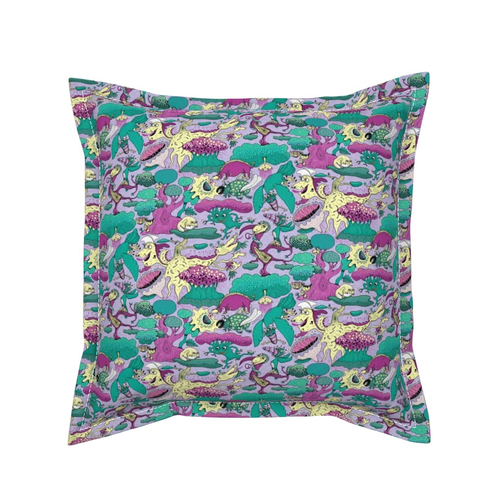 Serama Throw Pillow featuring quirky emerald forest, large scale, lavender fuchsia green yellow purple by amy_g