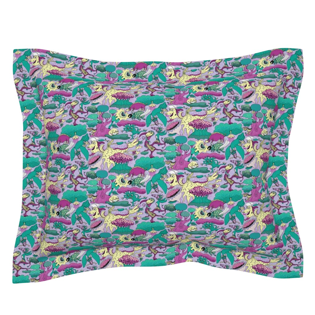 Sebright Pillow Sham featuring quirky emerald forest, large scale, lavender fuchsia green yellow purple by amy_g