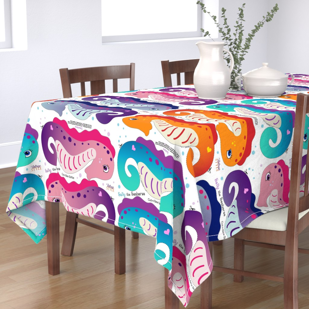 Bantam Rectangular Tablecloth featuring Sally the Seahorse Cut and Sew Softie by vintage_style