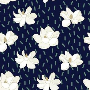 Magnolia Flowers on Navy