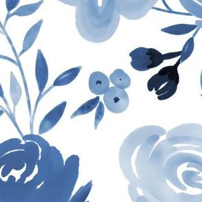 Large Monochrome Blue Watercolor Floral