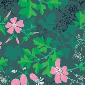 Forest Wildflowers at Daybreak / Emerald Background