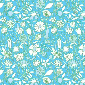Coloring Book Flowers Turquoise