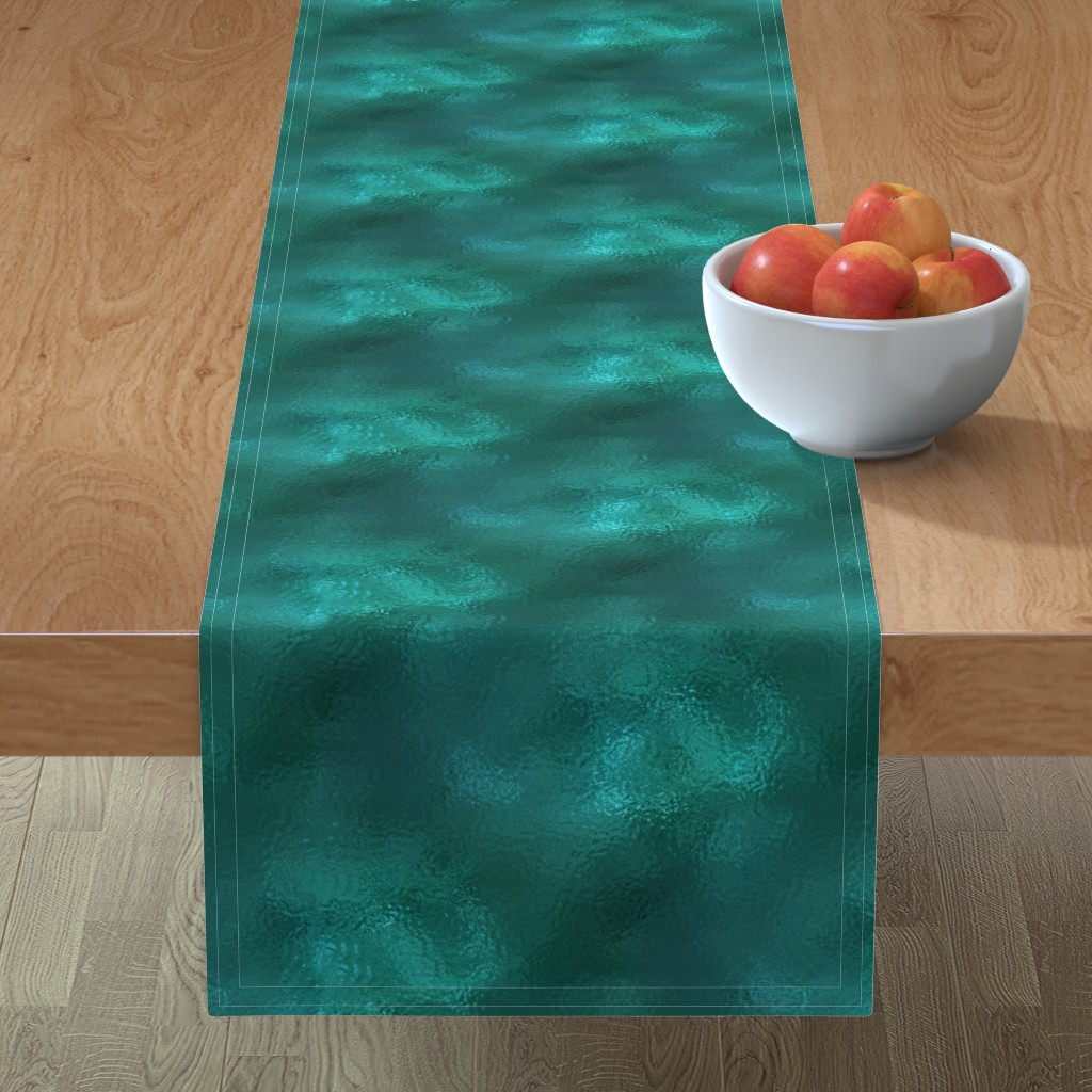 Minorca Table Runner featuring rain in the pond by stofftoy