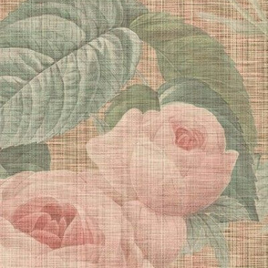 Belles Fleurs ~  Jolie Rayure ~ Faux Persephone Linen Luxe