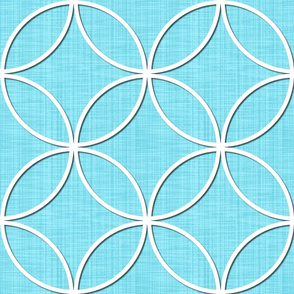 Circle Lock ~ White Paper Cutout on Masquerade Faux Linen Luxe