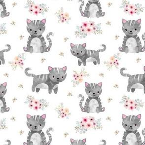 Grey Tabby Kitten Floral