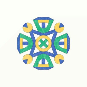 M06 Embroidery Medallion  Blue Green Yellow