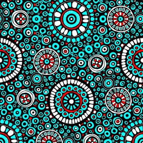 cootie shot, circles and dots in turquoise and red