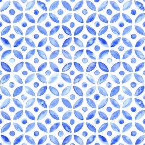 Simple Watercolor Moroccan Tile - Indigo