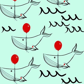 Whale red balloon