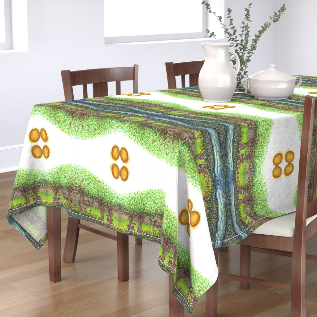 Bantam Rectangular Tablecloth featuring Peak a boo-ed by debra_may_himes,_asid