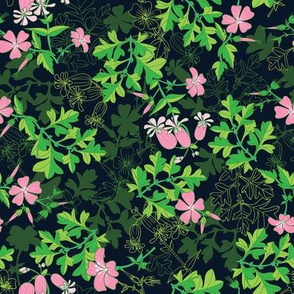 Forest Wildflowers  / Dark Background / Small Scale