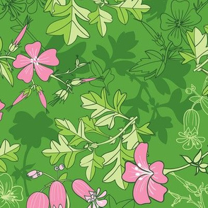 Forest Wildflowers  / Green Background