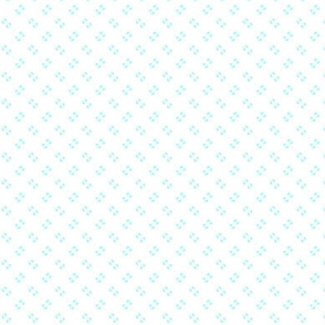 Simple speckles in pale, rich turquoise on white