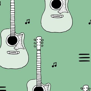 Little rockstar guitars and musical notes guitar illustration instrument music pattern green LARGE