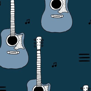 Little rockstar guitars and musical notes guitar illustration instrument music pattern boys winter blue LARGE