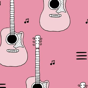 Little rockstar guitars and musical notes guitar illustration instrument music pattern pink LARGE