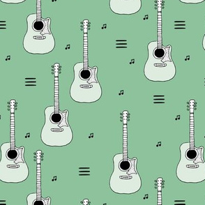 Little rockstar guitars and musical notes guitar illustration instrument music pattern green