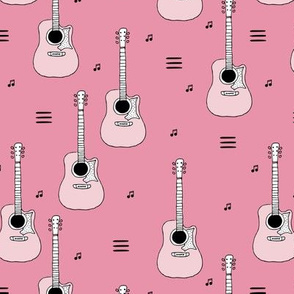 Little rockstar guitars and musical notes guitar illustration instrument music pattern pink