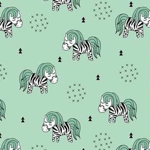 Sweet dreaming zebra illustration adorable kawaii pattern green