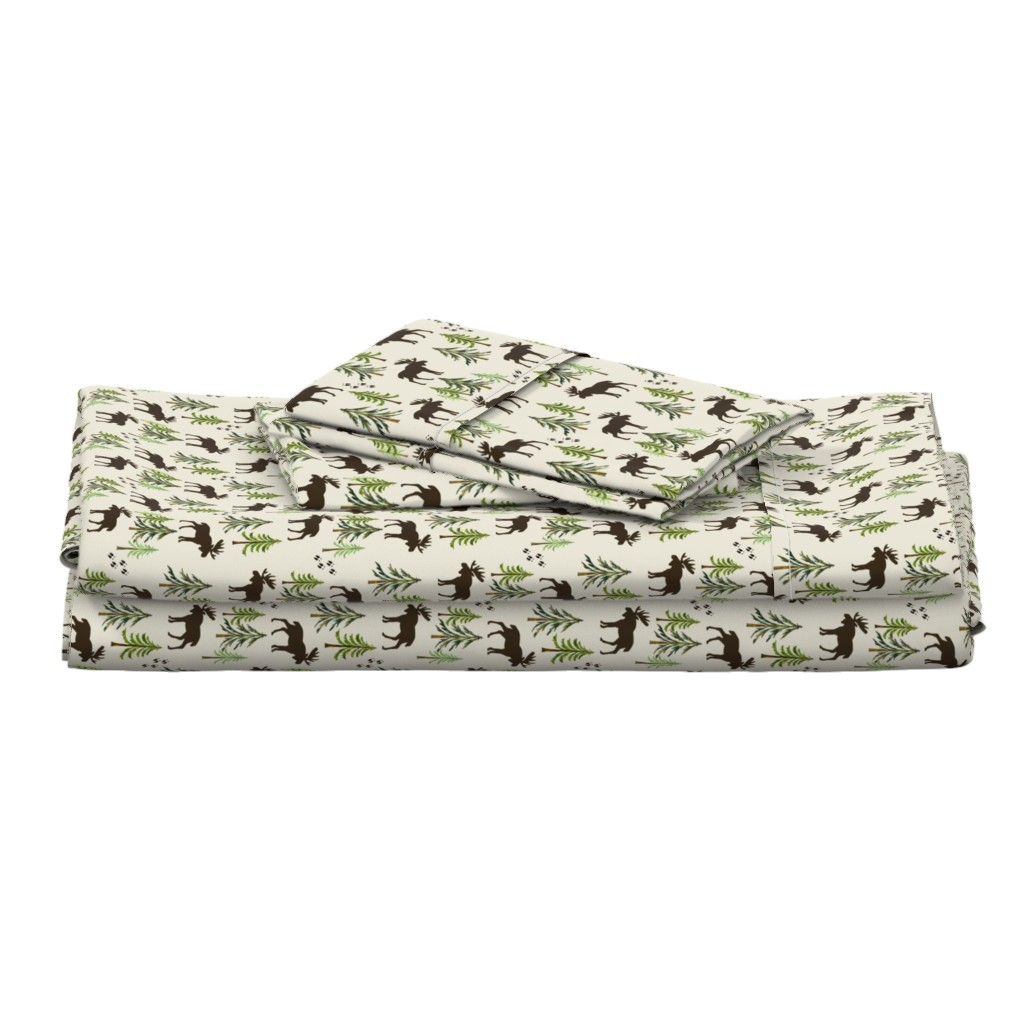 Langshan Full Bed Set featuring Forest Moose Tracks - Woodland Pine Trees - SMALL SCALE C by gingerlous